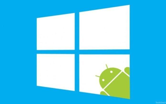 Windows 10 con il mirroring delle app Android